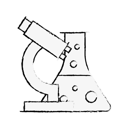 biology laboratory microscope test tube equipment vector illustration hand drawing