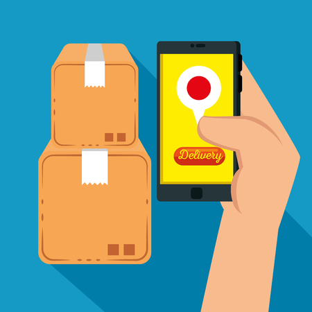 logistic services with smartphone vector illustration design