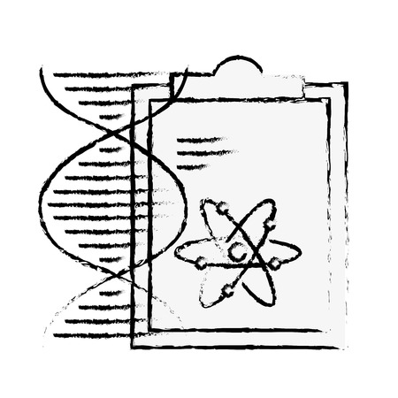 chemistry clipboard dna atom molecule structure vector illustration hand drawing