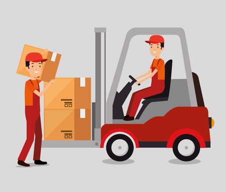 logistic services with forklift and worker vector illustration design Stock Vector - 109992445