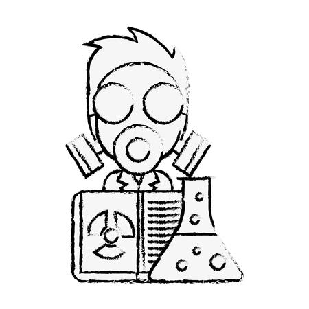 scientific man professor with mask radiation test tube vector illustration hand drawing Illustration