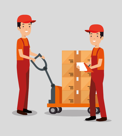 logistic services with team delivery workers vector illustration design Stock Vector - 108264801