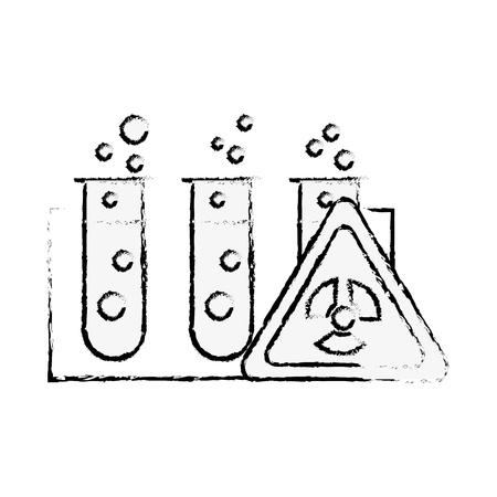 test tubes laboratory hazard analysis vector illustration hand drawing