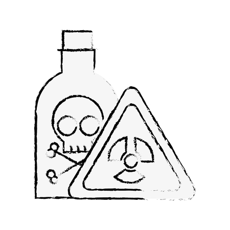 bottle poison laboratory danger board chemistry laboratory vector illustration hand drawing