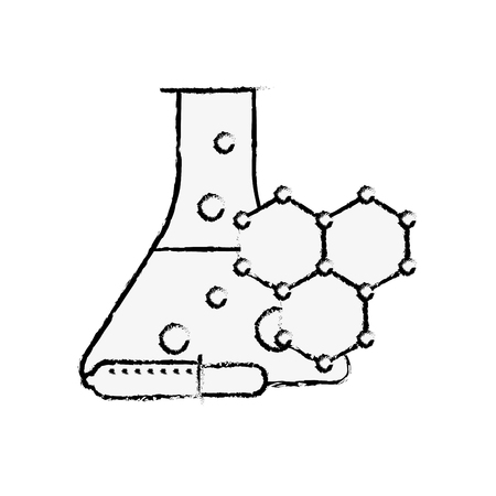 laboratory test tube sample dropper molecule structure vector illustration hand drawing