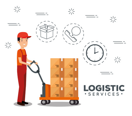 logistic services with delivery worker vector illustration design Stock Vector - 109992451