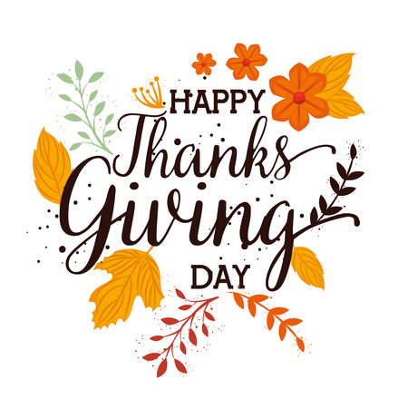 happy thanks giving card with floral decoration vector illustration