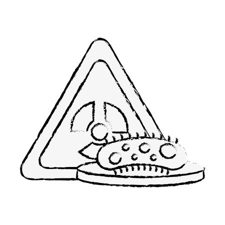 Las bacterias peligro de la ciencia peligro de radiación ilustración vectorial dibujo a mano