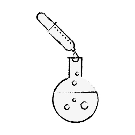 chemical test tube dropper reagent laboratory vector illustration hand drawing