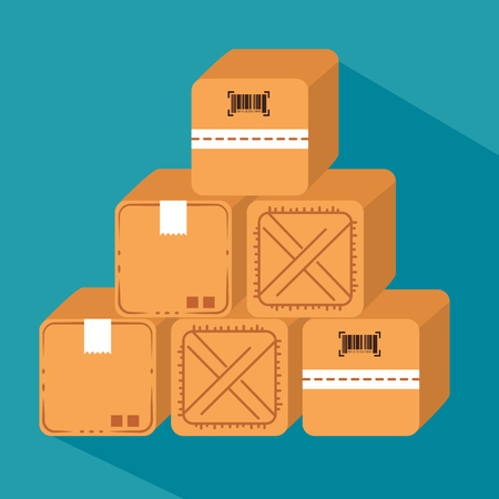 logistic services with carton boxes vector illustration design