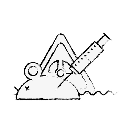 experiment rat laboratory syringe hazard danger vector illustration hand drawing