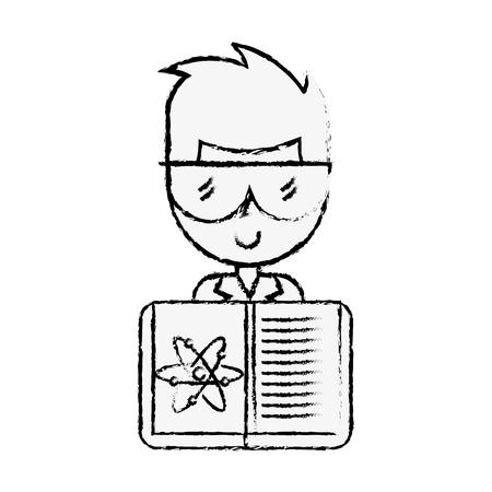 scientific man professor book science chemistry atom vector illustration hand drawing
