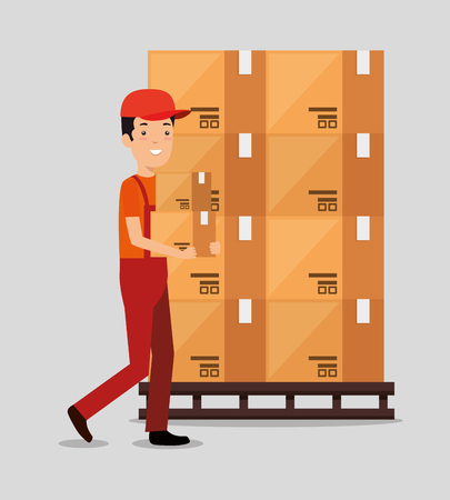 logistic services with delivery worker vector illustration design