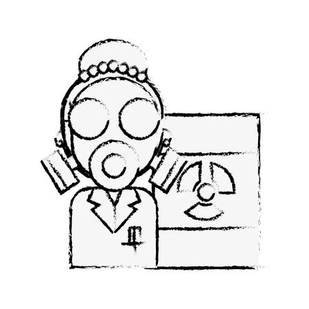 Femme scientifique avec masque de protection rayonnement baril danger vector illustration dessin à la main