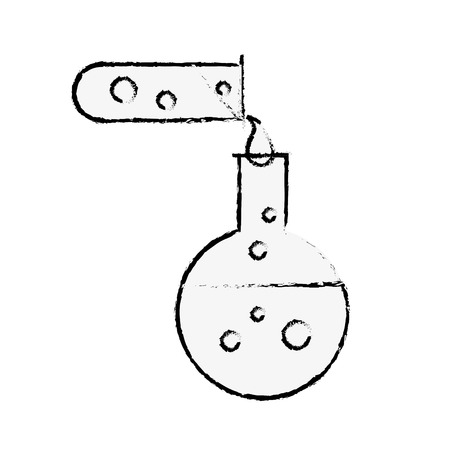 biology test tube pouring flask chemistry equipment vector illustration hand drawing Illustration