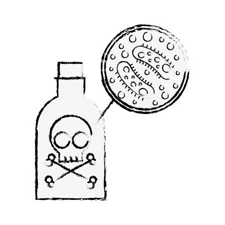 poison bottle danger bacteria virus infection vector illustration hand drawing