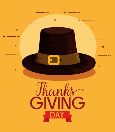 Feliz tarjeta de agradecimiento con sombrero de peregrinos, diseño de ilustraciones vectoriales
