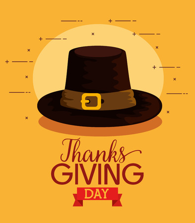 happy thanks giving card with pilgrims hat vector illustration design