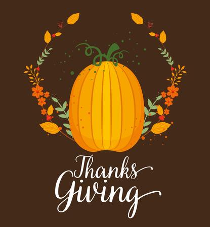 happy thanks giving card with pumpkin vector illustration design Çizim