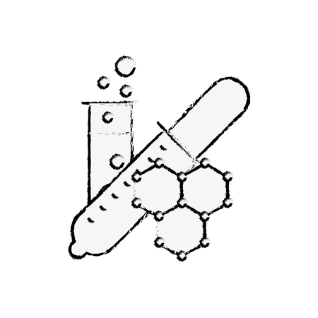 chemistry laboratory dropper test tube molecule vector illustration hand drawing