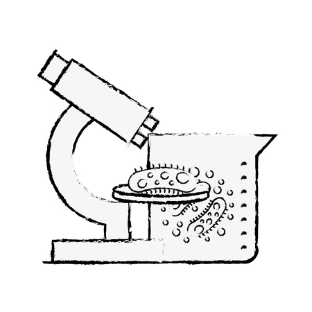 microscope flask bacteries chemistry laboratory vector illustration hand drawing Illustration