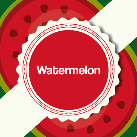 fruit fresh natural sticker sign watermelons background vector illustration