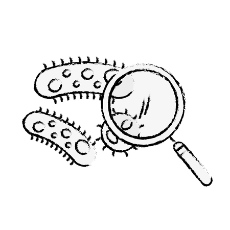 chemistry laboratory bacteria infection magnifying glass vector illustration hand drawing