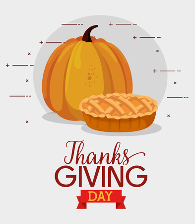 happy thanks giving card with pumpkin vector illustration design Çizim