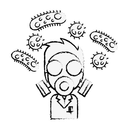 scientific man with mask and bacteries chemistry laboratory vector illustration hand drawing