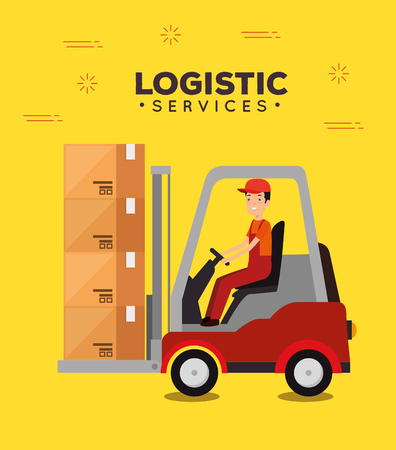 logistic services with forklift and worker vector illustration design