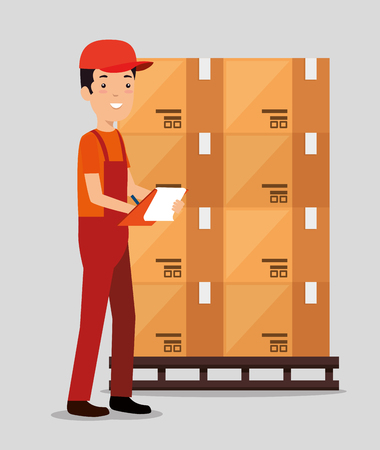 logistic services with delivery worker vector illustration design Stock Vector - 109992497