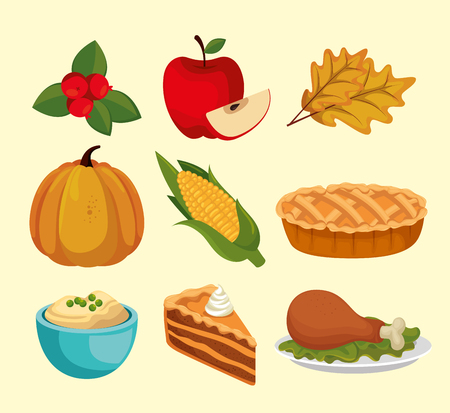 happy thanks giving set icons vector illustration design