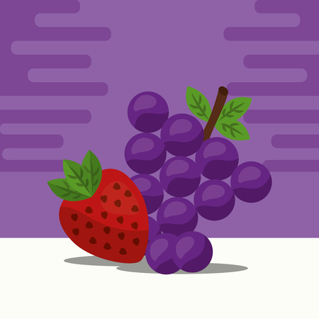 fruit fresh natural strawberry grapes nature vector illustration