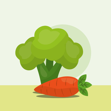 vegetables fresh natural carrot and broccoli vector illustration