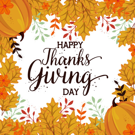 happy thanks giving card with pumpkin vector illustration design Stock Illustratie