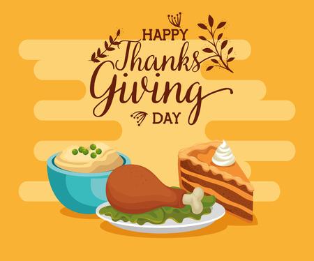 happy thanks giving card with delicious food vector illustration design Archivio Fotografico - 109992505