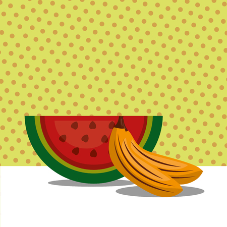 fruit fresh natural watermelon and bananas vector illustration
