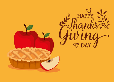 happy thanks giving card with sweet pie vector illustration design Çizim