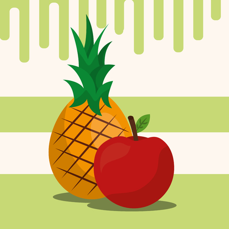 fruit fresh natural pineapple apple vector illustration