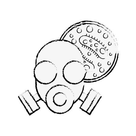 respirator mask virus infection danger chemistry laboratory vector illustration hand drawing Illustration