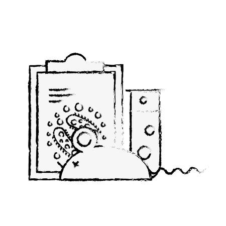 laboratory rat clipboard analysis experiment test tube vector illustration hand drawing Stock Illustratie