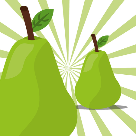 fruit fresh natural pears nature stripes color background vector illustration Иллюстрация