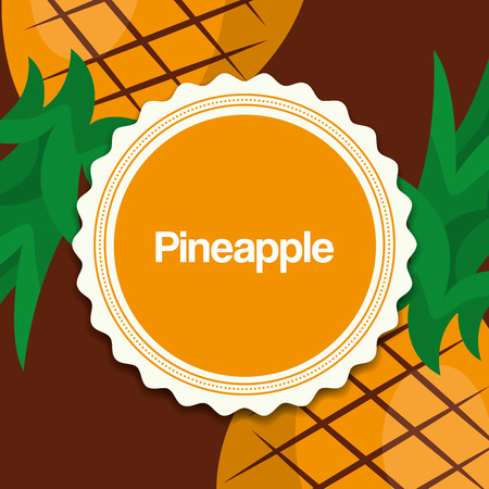 fruit fresh natural sticker sign color pineapples vector illustration Illusztráció