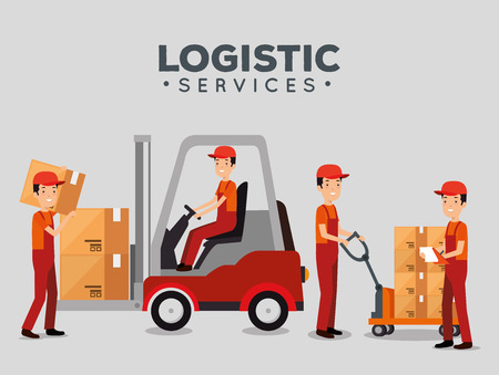 logistic services with team delivery workers vector illustration design Stock Vector - 109992514