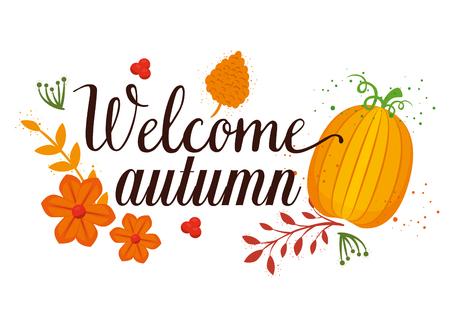 welcome autumn seasonal card vector illustration design