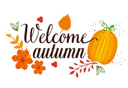 welcome autumn seasonal card vector illustration design