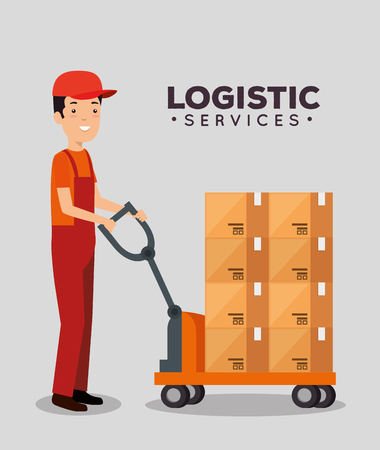 logistic services with delivery worker vector illustration design Stock Vector - 109992516