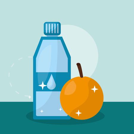 fruit fresh natural water orange vector illustration Foto de archivo - 108267370