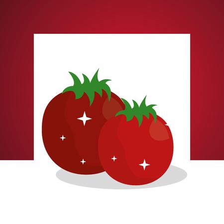 vegetables fresh natural tomatoes frame background vector illustration