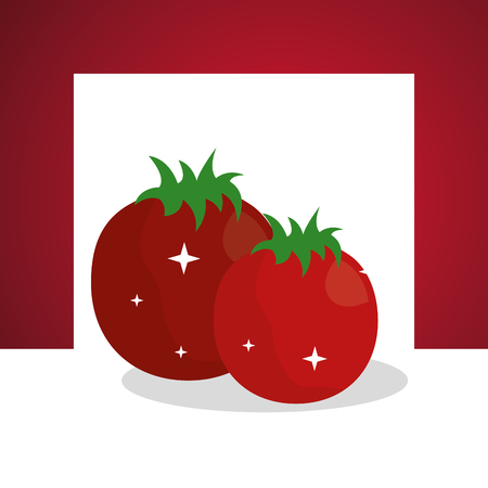 vegetables fresh natural tomatoes frame background vector illustration